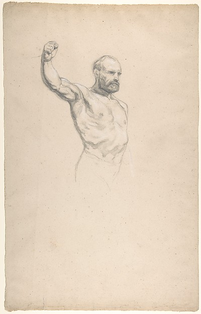 "Bearded, bare-chested male figure, study for ""The Horse Fair"""