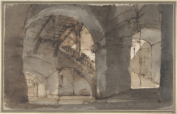 This is What Domenico Fossati and Design for a Stage Set| A Dungeon with High Vaults and a Staircase at Right. Looked Like  in 1743