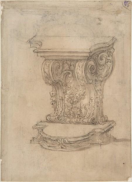 Design for a Lectern (recto); Design for a Cartouche (verso) .