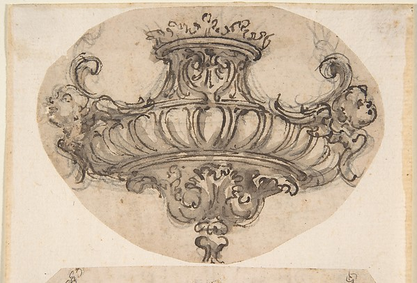 Design for Suspended Censer with Acanthus Ornament and Winged Cherub Heads at Chain Fastenings.