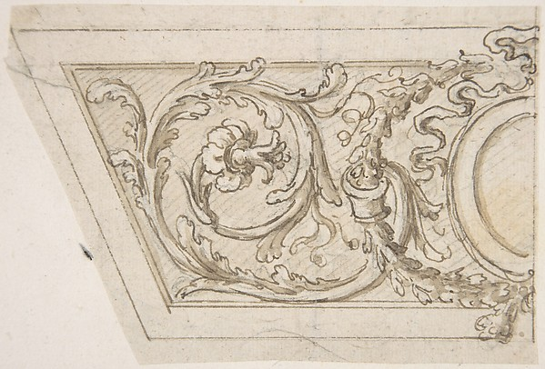 Design for a Trapezoidal Frieze with a Coat of Arms, Ribbons and Floral Ornament.