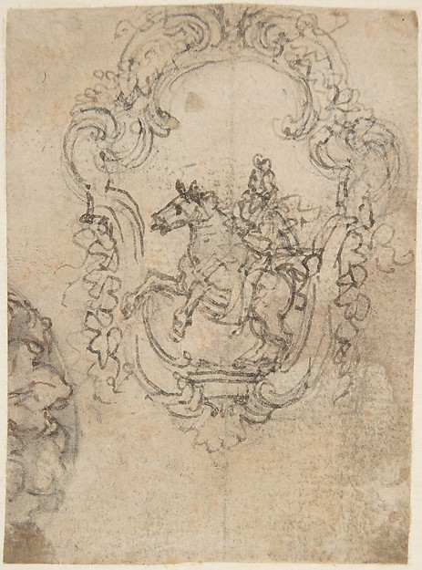 Design for an Equestrian Statue in a Cartouche (recto); Sketches for a Frieze with Sea-Shells and Floral Ornament (verso).