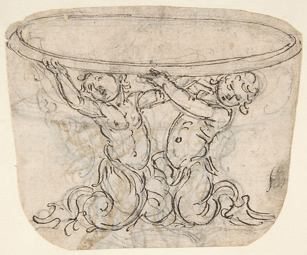 Table or Basin Supported by Male Sirens (recto); Sketch for the Same Subject (verso) .
