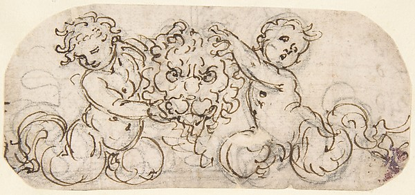 Design for a Lion's Head flanked by Satyrs
