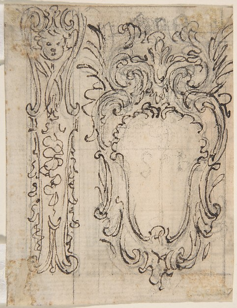 Design for a Decorative Frieze with a Coat of Arms (Recto). Design for a Window or a Wall Plaque (Verso).