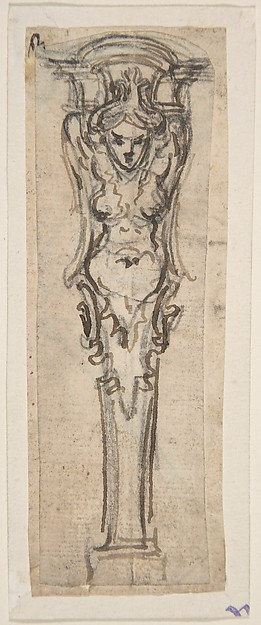 Design for a Term shaped like a Winged Female Figure