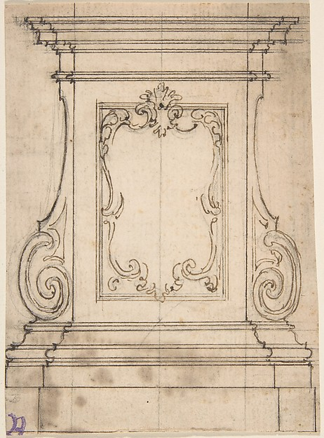 Design for a Sculpture or Reliquary Base with Volutes and a Cartouche (Recto). Sketch for a Monument Plan (Verso)