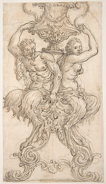 Satyr and Satyress Seated on a Pedestal Supporting a Vase.