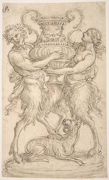 Design for an Urn Supported by a Satyr and Satyress.