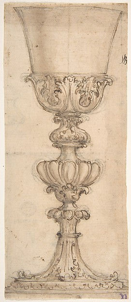 Design for a Chalice with Acanthus and Egg and Dart Motif (Recto). Sketch for a Half Base of an Urn (Verso).