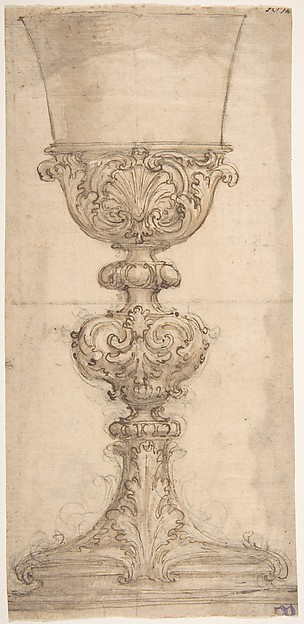 Design for a Chalice with Acanthus and Shell Decoration