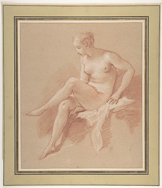 Fascinating Historical Picture of Franois Boucher with Seated female nude in 1742