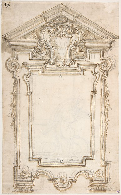 Design for a Sculptural Frame with a Coat of Arms in a Pediment (Recto). Caryatid Supporting a Frame (Verso).