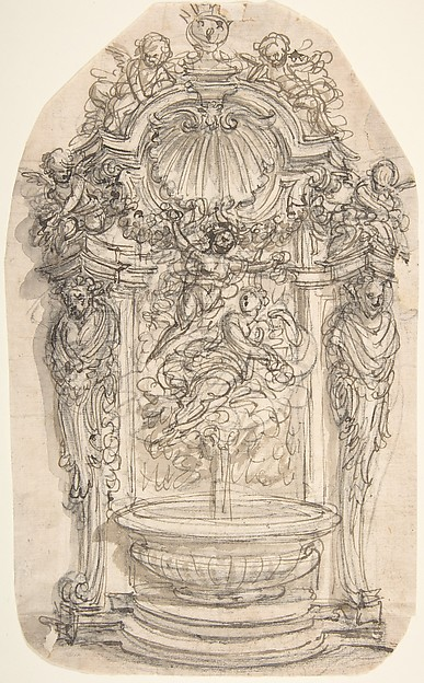 Design for a Fountain in a Niche flanked by Terms