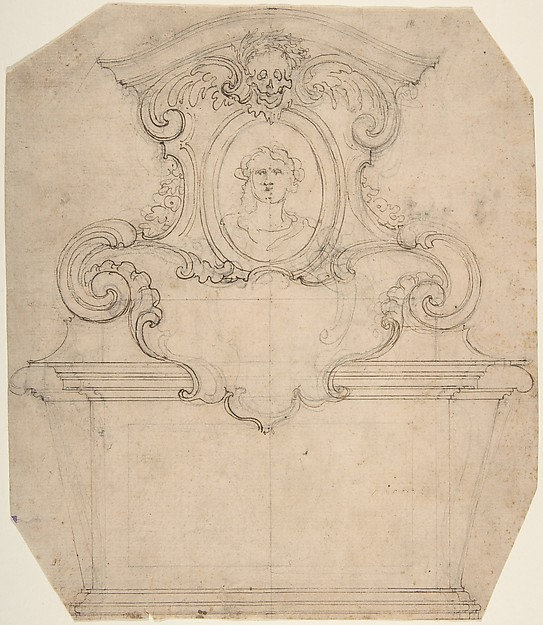 Design for a Funeral Monument with a Framed Bust Surmounted by a Skull (Recto). An Unfinished Variation of Recto Design (Verso)