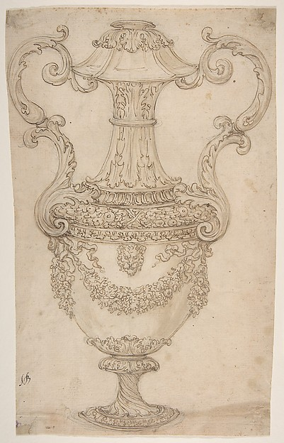 Design for a Vase with Handles, Decorated with a Festoon