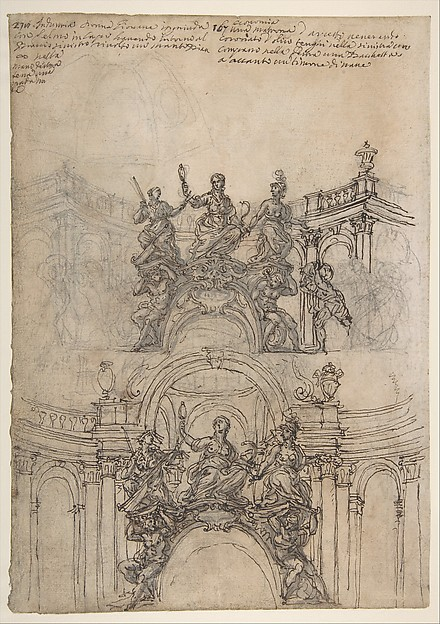 Studies for a Sculpture with Figures of Prudence, Industry and Economy Supported by Slaves and an Oval Plaque with Cartouche; Separate Study for a Cupola (Recto). Studies for Figural Ornament (Verso).