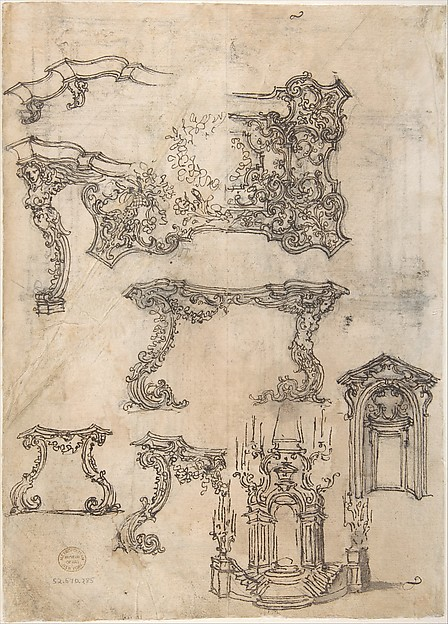 Sheet with Various Designs for Tables and a Funerary Monument