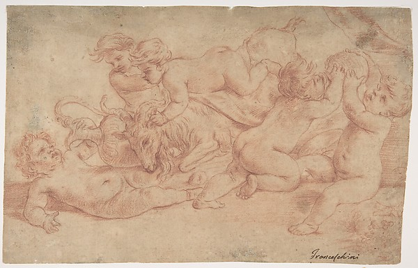 Five Putti Playing with a Goat (Bacchanalia)