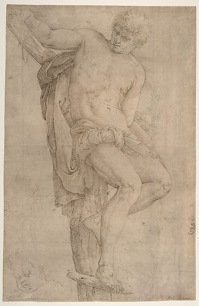 Fascinating Historical Picture of Battista Franco with The Unrepentant Thief on the Cross Study of a Childs Head at Lower Left and of an Ear at Lower Ri in 1510