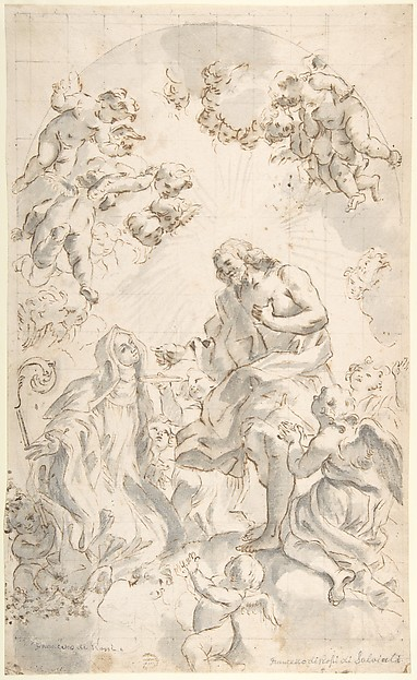 Copy of Gaulli's Drawing:  Christ Giving the Host to a Holy Abbess