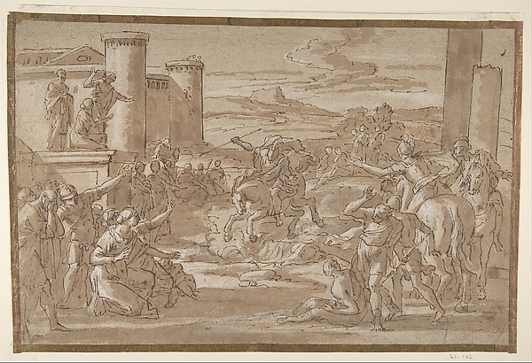 Fascinating Historical Picture of Luigi Garzi with Marcus Curtius Leaping into the Chasm (recto); Study of a Seated Crowned Female Figure (verso) in 1638