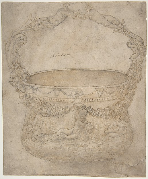 Design for a Bucket-Like Vessel with a Handle of Interlaced Figures, on a Body Adorned with Bucrania, Garlands, and Three River Gods.