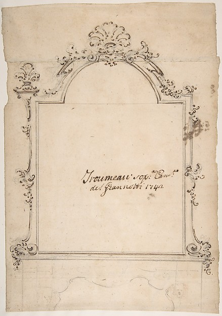 Fascinating Historical Picture of Domenico Silvestro Giannotti with Design for a Carved Mirror Frame Surmounting a Mantle (Trumeau) in 1742