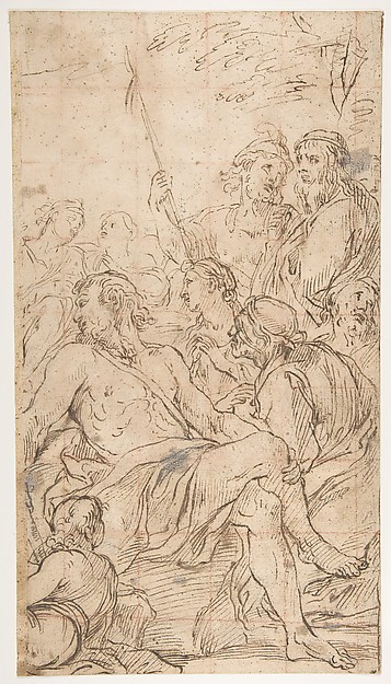 Fragment of a Composition with a Reclining Semi-Nude Man Surrounded by Soldiers and Other Onlookers in a Landscape