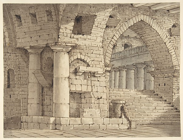 Fascinating Historical Picture of Pietro di Gottardo Gonzaga with Design for a Stage Set Showing the Interior of a Fortress or Dungeon. in 1751