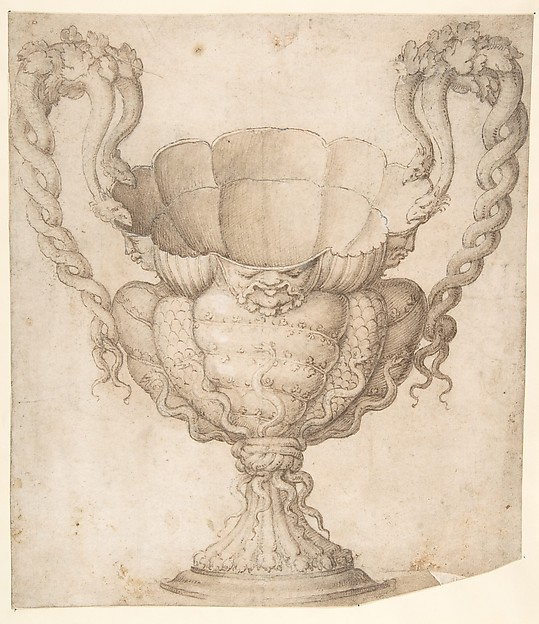 Design for a Decorated Drinking Cup with Floriated Heads around Large Mouth, Intertwined Serpents as Handles