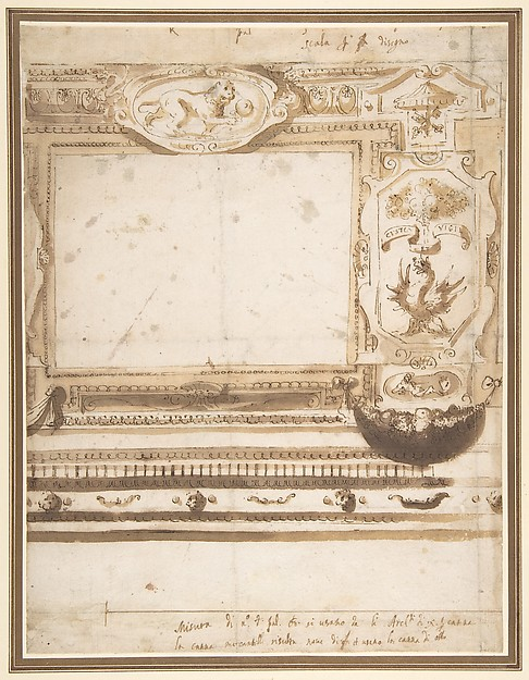 Fascinating Historical Picture of Giovanni Guerra with Design for a Wall Decoration with the Coat of Arms of the Borghese Family. in 1590