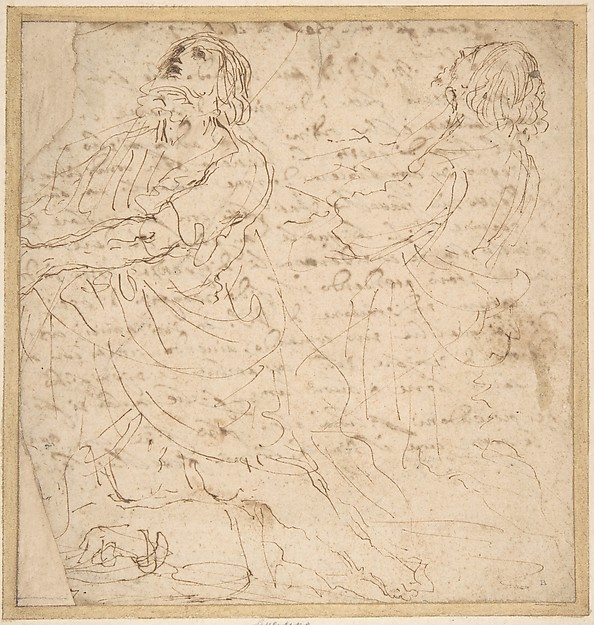 Two Studies of a Kneeling Male Figure.