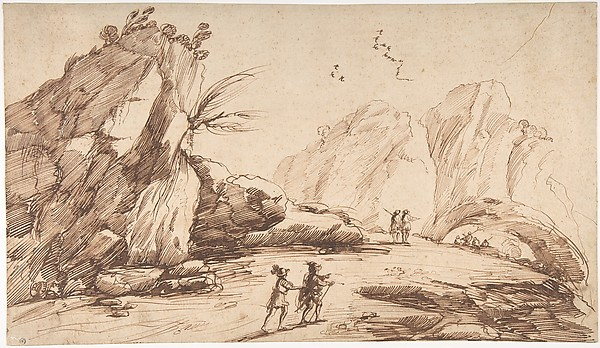 Rocky Landscape with Eight Figures