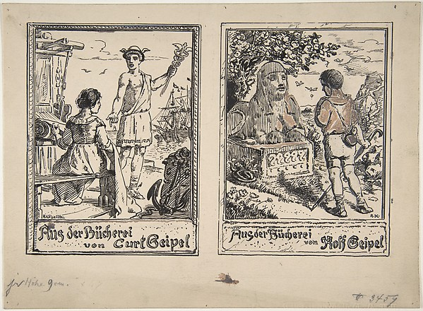 Two Designs for Bookplates: Curt Geipel and Rolf Geipel