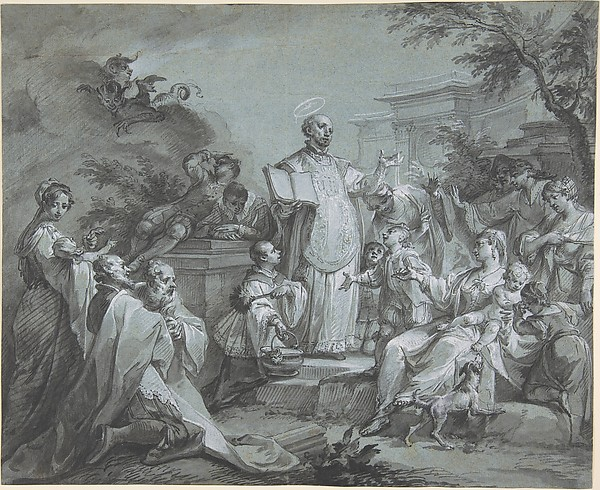 Fascinating Historical Picture of Johann Wolfgang Baumgartner with Saint Ignatius of Loyola Preaching in 1761
