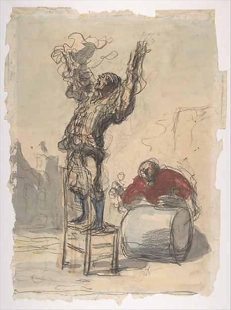 Street Show (Paillasse) (recto); a clown playing a drum (verso)