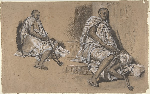 Two Studies of a Seated Arab with a Pipe