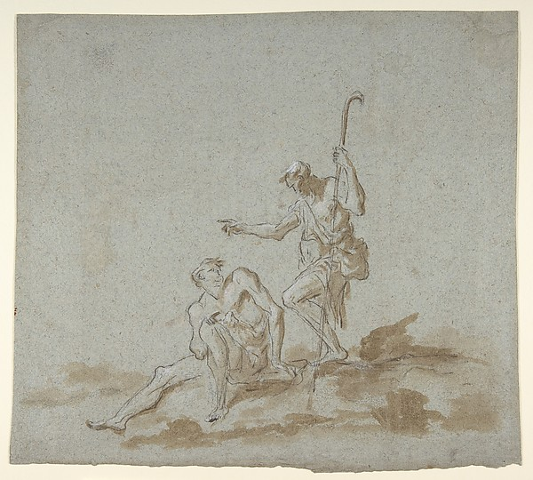 A Shepherd Addressing a Seated Male Nude.