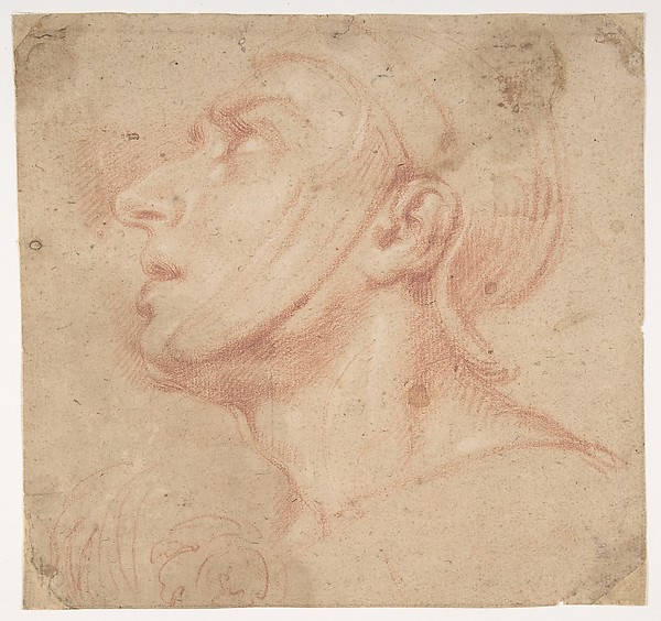 Fascinating Historical Picture of Francesco di Maria with Head of a Man Wearing a Helmet Looking to Upper Left (recto); Two Sketches Arms and Hands (verso) in 1623