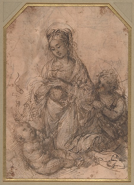 Virgin Adoring the Christ Child with Saint John the Baptist (recto); The Holy Family with Saint John the Baptist (verso).