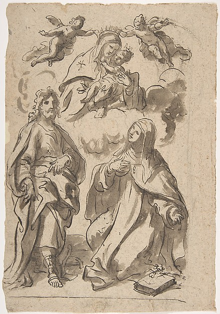 Fascinating Historical Picture of Francesco di Maria with A Male and a Female Saint (Joseph of Aramathea? and Saint Catherine of Siena? Adoring the Virgin and in 1623