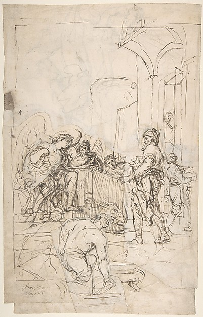 Fascinating Historical Picture of Francesco Lamarra with Abraham Entertaining the Three Angels (Genesis 18|1-15) (recto);  A Couple Embracing and Other (ver in 1710