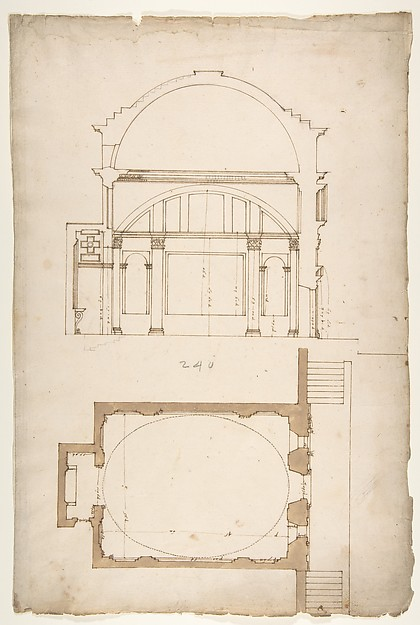 S. Andrea via Flaminia, plan; section (recto) blank (verso)