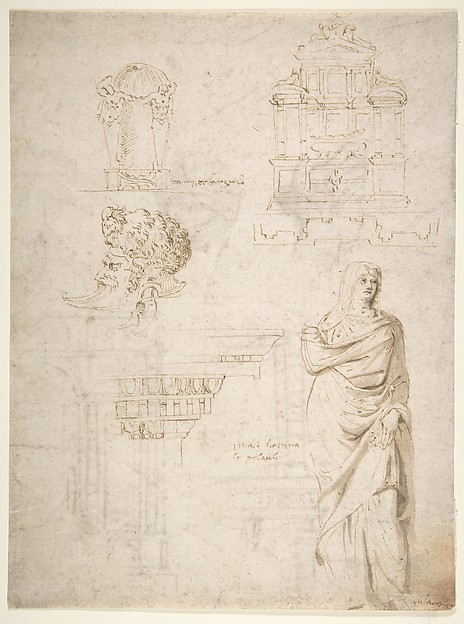 Sketches of a Funeral Monument, a Niche with Statues, a Helmet in the Shape of a Human Head, an Entablature and a Female Statue