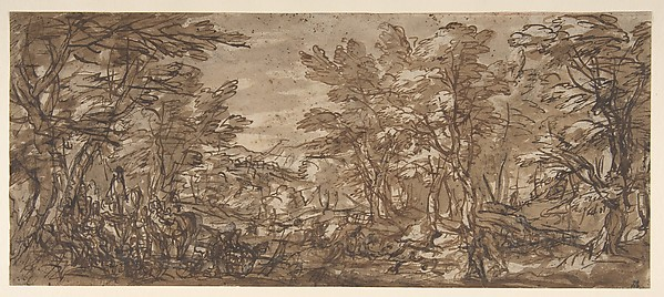 Forest Scene, a Halt at the Left, a Hunt at the Center