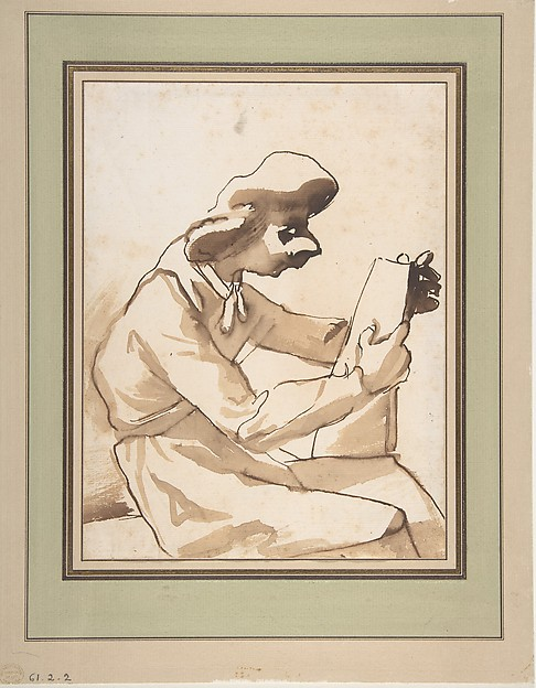 Caricature of a Seated Man Reading