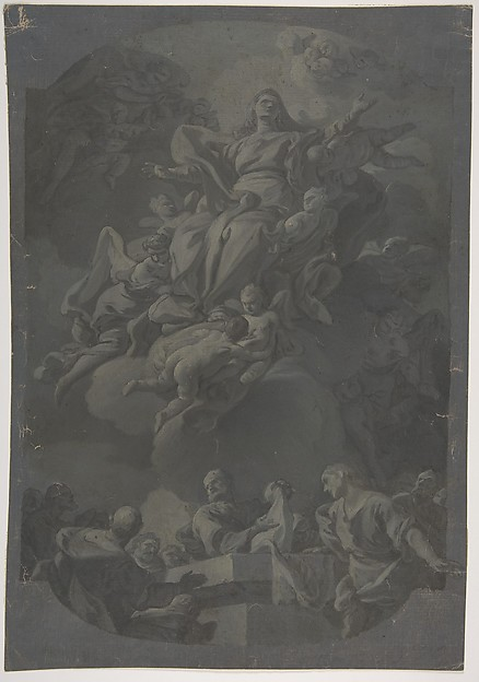 Fascinating Historical Picture of Francesco Narice with The Assumption of the Virgin in 1751