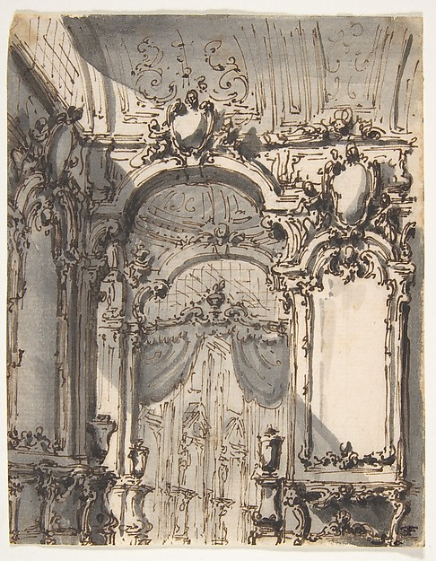 Design for a Stage Set:  Interior of a Palazzo Decorated with Large Mirrors and Console Tables
