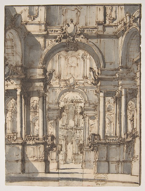 Design for a Stage Set (recto); Fragmentary Sketch of a Stage Set in Elevation (verso)